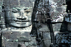 Giant faces in Bayon. Angkor Thom